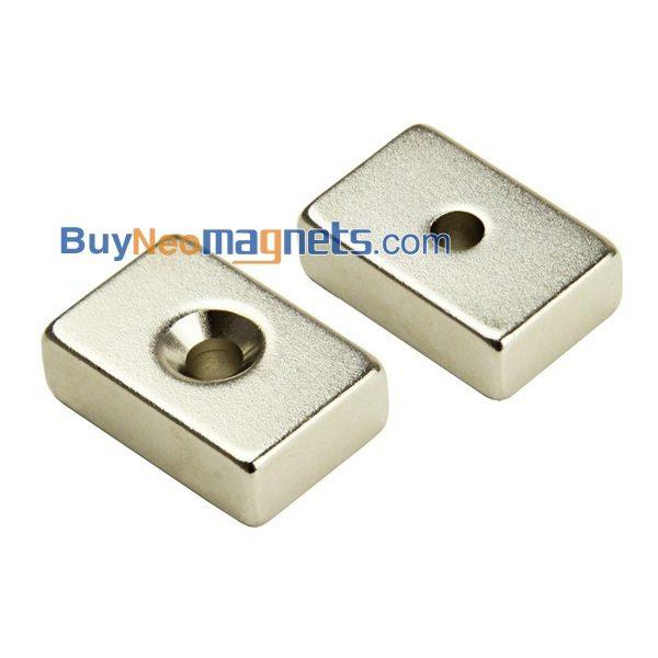 5 Pieces N-Pole Block Magnet countersunk 30 x 10 x 3mm Neodymium N35